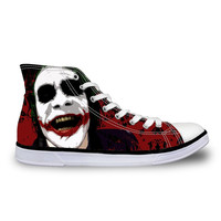 2016 Fashion Canvas Shoes for Women Casual High-Top Flat Shoes, Funny Cartoon Harley Quinn and Joker Shoes Leisure Zapatos Mujer