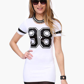 Number 98 Print Short Sleeve Bodycon Mini Dress with Mesh Accent