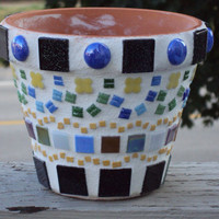 "Pottery - 6"" Mosaic Flower Pot"