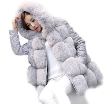 2018 new brand faux fur coat With Hooded women 8 colours faux fur jacket women warm faux fur vest women
