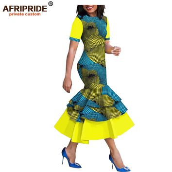 2019 spring& african style dress for women AFRIPRIDE short sleeve mid-calf length 3 layers trumpet women dress A1825080