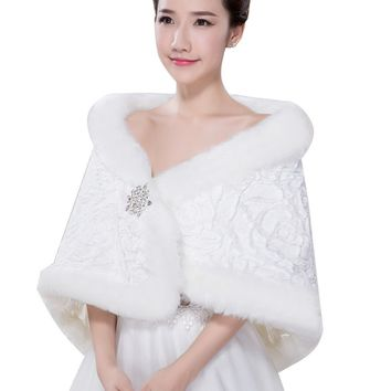 In Stock Wedding Accessory Faux Fur Black White Custom Made Bridal Coat Wedding Bolero Stoles Jacket Shrug Wraps LF35