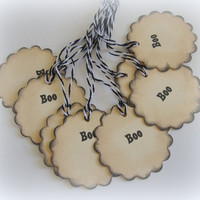 Halloween Holiday Gift Scalloped Tags, Boo. Set of 8.