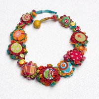 Colorful textile necklace, crochet with fabric buttons, OOAK