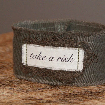 Inspirational Quote Bracelet Quote Jewelry Inspirational Bracelet Cuff take a risk