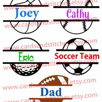 Split Sport Balls Decal or Iron-on Transfer (Glitter or Mat) - Custom Name Sport Balls - for Cars, Shirts, Totes and More.