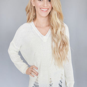 Lana Distressed Sweater Ivory