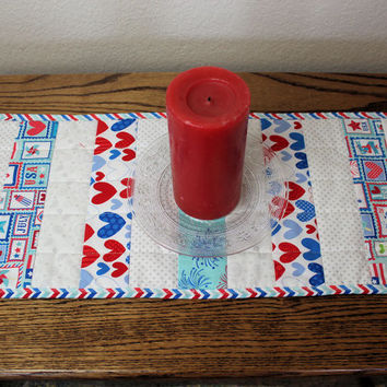 Patriotic Table Runner Quilt- Red, White, Blue and Aqua Blue Hearts and Stars Quilted Table Runner, 4th of July