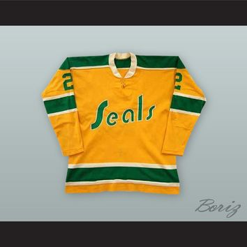 Doug Roberts 2 California Golden Seals Yellow Hockey Jersey