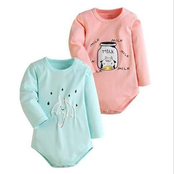 Baby Bodysuits Spring 2PCS Baby Ropa Cotton Clothes Long Sleeve  MILK UMBRELLA Baby Jumpsuit Little Kids Clothes Clothing