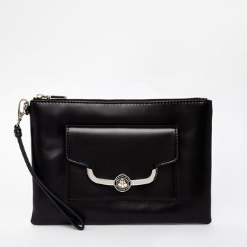 Love Moschino Black Clutch Bag with Structured Frame Detail