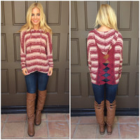Valentina Striped Lace Back Hoodie - BURGUNDY & CREAM