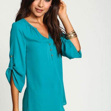 Teal Gold Button Henley Blouse
