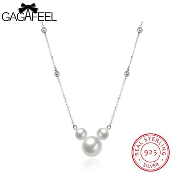 GAGAFEEL Imitation Pearl Necklace Lovely Mickey Shape Pendant Sterling Silver Women Jewelry Fashion Plated Zircon Fine Chains
