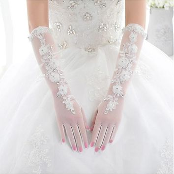 [15.99] In Stock Lace White Elbow Length Wedding Gloves With Flowers - dressilyme.com