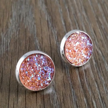 Druzy earrings- ab light pink drusy silver tone stud druzy earrings