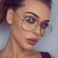 VictoryLip Classic Fashion transparent Optics Clear lens Sunglasses Women Brand Designer Men Lady Sun Glasses Female Cheap