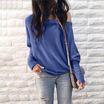 Long Lantern Sleeve Off Shoulder T Shirts Solid Color Loose Tops Tees Autumn Hoodie for Women Clothes Drop ship 220238