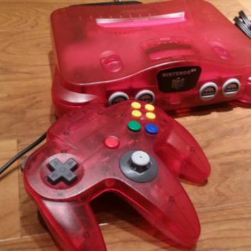 Watermelon red funtastic Nintendo 64 console, watermelon red n64 system, funtastic watermelon red Nintendo 64 video game system, n64 console