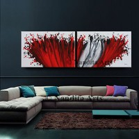 """Red Wall Art Painting 72"""" Abstract painting, Modern Art, LARGE modern art, abstract art sale, original fine art collectibles Fast Shipping"""