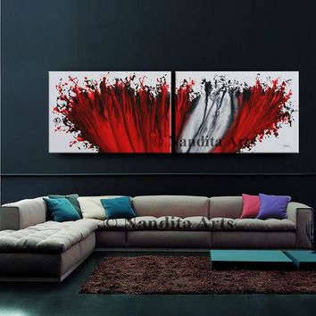 "Red Wall Art Painting 72"" Abstract painting, Modern Art, LARGE modern art, abstract art sale, original fine art collectibles Fast Shipping"