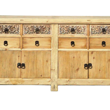 Chinese Vintage Natural Finish Carving Sideboard Buffet Cabinet cs1147S