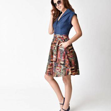 Folter High Waisted Don't Judge A Book Print Cotton A-line Skirt