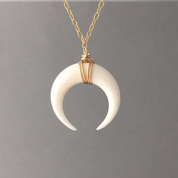 SMALL White Bone Double Horn Gold Necklace // Crescent Moon