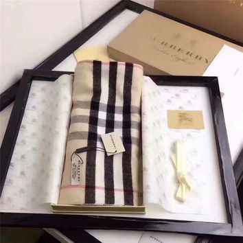 NOV9O2 Burberry Keep Warm Scarf Embroidery Scarves Winter Wool Shawl Lattice Style 1
