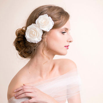Rose Bridal Hair Clip Set - Bridal Headpiece - Wedding Headpiece - Rose Hair Clips - Bridal Double Flower Headpiece