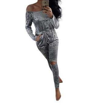 CREYIJ6 Women Velvet Jumpsuit Sexy Slah Neck Pleated Waist Hole Knee Ripped Long Sleeve Sheer Bodysuit Winter Rompers Womens Jumpsuit