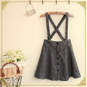 TIC-TEC 2016 New women vintage summer single breasted literary College Wind wild strap skirt A Line Cross Back Strap Plaid P2659