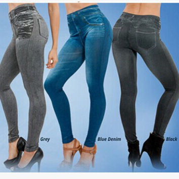 2015 hot selling women's slim leggings blue and black jean girls jeggings Denim look leggings