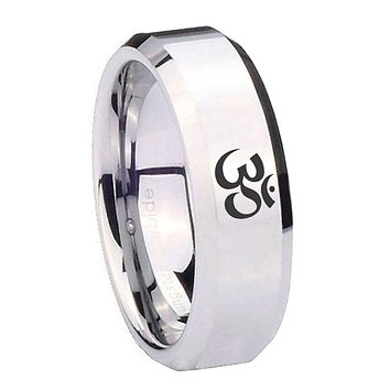 8MM Mirror Bevel Edges Ohm Design Om Yoga Silver Tungsten Laser Engraved Ring