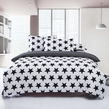 Black White Bedding sets Star Duvet Quilt Cover Set Linens Russia Family Size,3Pcs Bed Set For USA Size Bedroom Bedding
