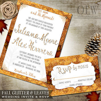 Fall Wedding Invite Rustic Fall Glitter and Leaves Rustic Wedding Stationery Invitation and RSVP Card Digital Printable Autumn