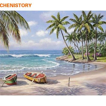 CHENISTORY Boat Seascape Diy Painting By Numbers Kits Coloring Painting By Number Hand Painted Wall Art Picture 40*50cm Artwork