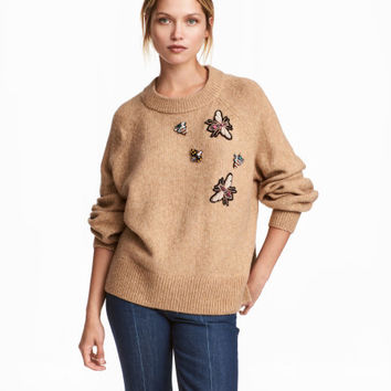 Sweater with Beaded Appliqués - from H&M