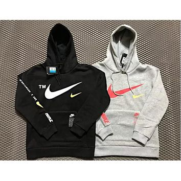 Nike Fashionable Women Men Casual Print Hooded Velvet Sweater Top Sweatshirt Grey