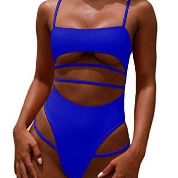 Royalove Womens One Piece Swimsuits Push up Strappy High Cut High Waisted Cheeky Bathing Suit Swimwear