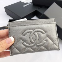 NWT Chanel Caviar Silver O-Card Holder O-Case Wallet NEW 2017