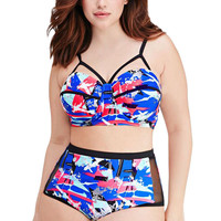 Abstract Print Mesh Insert High-Waist Plus Size Bikini