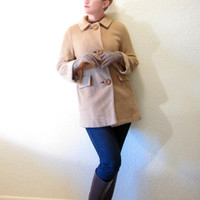 Vintage Nordstrom Camel Wool Short Coat. Big Wooden Buttons. Pan Collar.