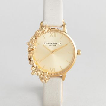 Olivia Burton OB16CB10 Case Cuff Midi Leather Watch In Nude at asos.com