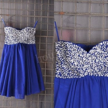 Dark Royal blue Beaded Short Bridesmaid Dresses, Prom Dress, Party Dresses,Evening Dresses, Wedding Party Dresses, Bridesmaid Dresses