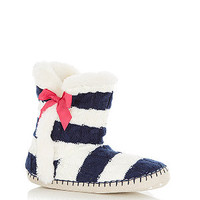 Teens Navy Stripe Lined Boot Slippers