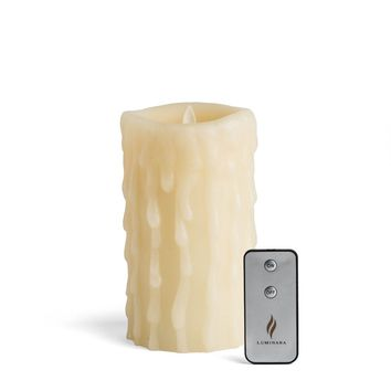 """Luminara 7"""" Heavy Wax Drip Flameless Candle with Remote"""