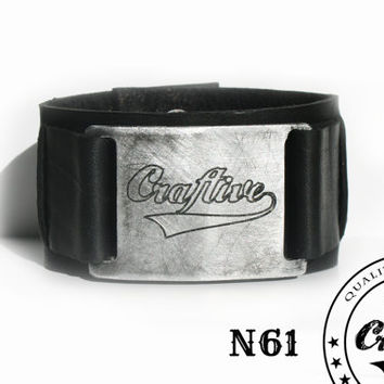 Black Leather Cuff with Custom Buckle -  Wristband Cuff - Customizable -  Band merchandising - Motards Cuff - Biker Cuff FREE SHIPPING