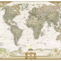 World Executive Poster Sized Wall Map (Tubed World Map) (National Geographic Reference Map)