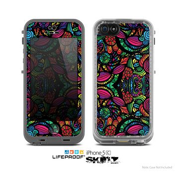 The Neon Colored Vector Seamless Pattern Skin for the Apple iPhone 5c LifeProof Case